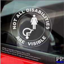 1 x Not All Disabilities Are Visible-Round-FEMALE-Window Sticker-Sign,Car,Disabled